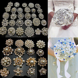 50Pcs GOLD X Mixed Bulk Gold Plated Wedding Bridal Crystal Pearl Brooches Brooch Bouquet Faux Pearl Diamond
