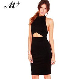 2015 Women Summer runway dress designer Seductress Bodycon Halter Midi Dress with Cut-out in Black White LC2959 Free shipping
