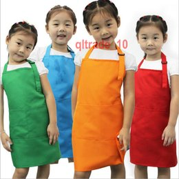 Wholesale 20 BBA5649 colors Kids Aprons Pocket Craft Cooking Aprons Baking Art Painting Aprons baby Kitchen Dining Bib Children Aprons Eat overall