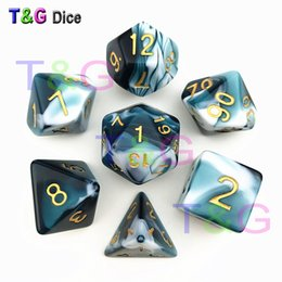 New Transparent Turquoise & White Color Dice D4-D20 For TRPG Game