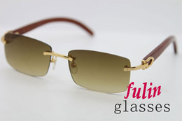 2015 Hot Sale 3524012 Good Wood Made Vintage Retro Women Sunglasses Rimless Green Lens Size 56-18-135mm