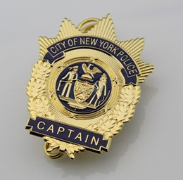 Wholesale NYPD Badges The New York captain badge old beauty of pure copper to order Good quality City Of New York Police Captain Metal Badge