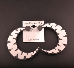 Fashion Club DJ Jewelry Hip Hop White Acrylic Big Moon Stud Earrings For Women Hot Wholesale