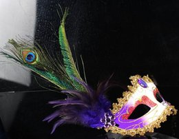 Wholesale masquerade Mask feather ball High grade fine Two mountain chicken feather Peacock feathers Ms dance performance mask masked ball for friends