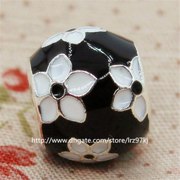 New 100% 925 Sterling Silver Mystic Flower Charm Bead with Black Enamel Fits European Jewelry Bracelets & Necklaces