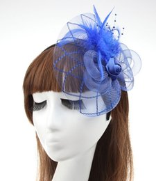 Wholesale 2016 NEW Fashion Fascinators Mini Party Cocktail Women Fascinator Party Wedding Feather Veil Hat Hair Clip Valentine Day Gift