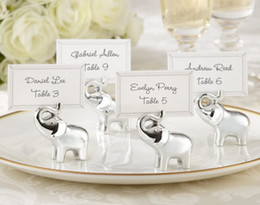 Wholesale quot Lucky in Love quot Silver Finish Lucky Elephant Place Card Photo Holder