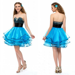 Wholesale China Blue Wedding Dress - Youthful 2015 Latest Sweetheart A Line Wedding Dresses Organza Short Party Dresses Tiered Beaded Homecoming Dress Custom Made China EN82710