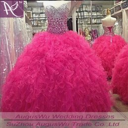 2015 New Quinceanera Dresses Ball Gown With Organza Appliques Beads Crystal Lace Up Dress For 15 Years Quinceanera Gowns QS115