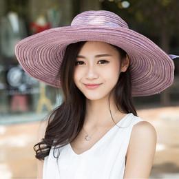 Wholesale-2015 Whole Sale Women's Sun Hats Cotton Linen Bow Big Brim Beach Hats Collapsible Sun Hats for Women J020