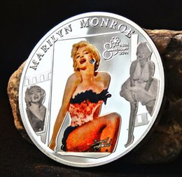 Wholesale 50pcs The Hollywood sexy women Marilyn Monroe with diamond Elizabeth II silver plated colored America souvenir coin
