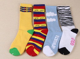 Wholesale-New Free Shipping ofwgkta Cotton Thick Terry Golf Wang Socks for Men and Women Rainbow Stripes Zebra and White Clouds Socks