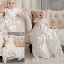 Wholesale 2016 Lace First Communion dresses For Baby With Wrap Short Sleeves Flower Girls Dress Spring New Arrival Long Communion Dresses