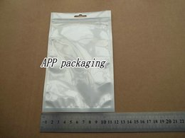 12x20cm Clear+white zipper lock Pearl retail plastic package bag, poly bag mobile phone for iphone Samsung case cover pack bag