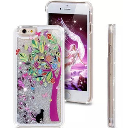 Wholesale Cute Cartoon Liquid case Fashion Girl Tree Star Glitter Hard clear Plastic Skin cover For Iphone S S SE SE S Plus
