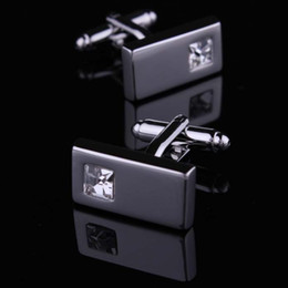 Wholesale High Quality Crystal Silver Cufflink For Shirt French Cufflinks Fathers Day Gifts For Men Jewelry Wedding Cuff Links W134