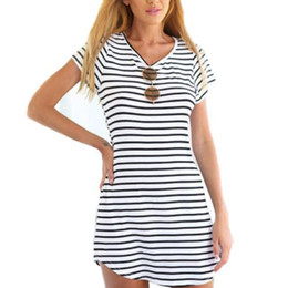 Wholesale-ZANZEA Summer Style 2016 New Women Dress Casual Loose Black White Striped Dresses Short Sleeve O Neck Mini Vestidos Plus Size