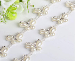 1 Yard Sparkle Rhinestones Crystals Pearl Butterfly Shape Silver Plated Ribbon Chain Trim