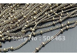 Wholesale Ship Free meters mm Antique Brass Plate Copper Thin Chain Press Ball jewelry chain jewelry findings