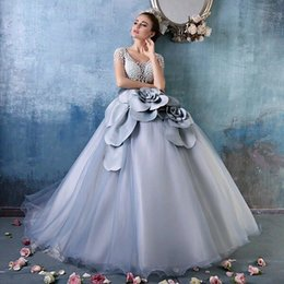 Luxury Pearl Beaded Ball Gown Prom Dresses Capped Sleeve back Zipper Handmade Flower organza Robe De Soirre 2016 Pagaent Gowns