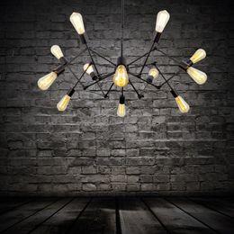 Wholesale Spider Chandelier Vintage Wrought Iron Pendant Lamp Loft American Style Lighting Lights Antique Industrial Pendent Light Edison Bulb Led
