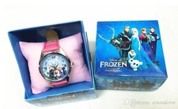 Wholesale 2015 Christmas New Children Frozen girl Cartoon Child clock watch Wristwatches Baby frozen watches with colorful boxes