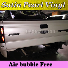 Wholesale Premium Satin Pearl white vinyl wrap for Car wrap film pearlescent Car Wrapping film Full Vehicle covering with air free system x20m