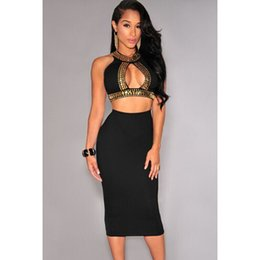 Hot new design hollow out women two piece outfits o-neck sleeveless two piece bodycon dress black M&L sexy dress 60223