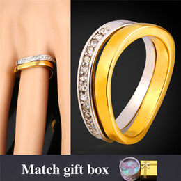 U7 Wedding Couple Rings For Men Women 18K Real Gold  Platinum Plated Rhinestone Bridal Sets His And Her Promise Ring Sets