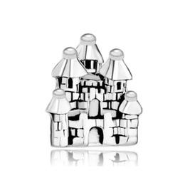 10pcs per lot Slide Bead Castle Building Lucky European Charm Spacer Metal material Fit Pandora Bracelet