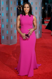 Wholesale Angela Bassett BAFTAs Awards Red Carpet Dresses Plum Mermaid Simple Cheap Celebrity Evening Gowns Prom Dressess Formal Wear