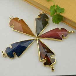 Wholesale Agate Arrow Pendant kt Gold Plated Edge Agate Arrow in Mix Color Stone Connectors