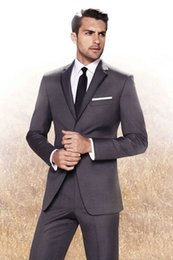 2015 Dark Gray Weddng Tuxedos For Groom and Groomsmen Slim Fit Mens Suits Notche Lapel Prom Suits (Jacket+Pants+Tie)