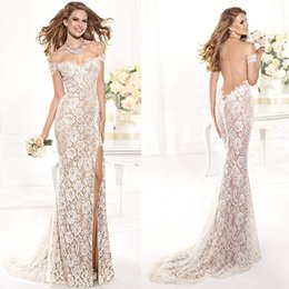 Wholesale 2016 Champagne Lace Pageant Gown Backless Off Shoulder Red Carpet Side Slit Prom Dresses Sexy Long Mermaid Evening Gowns E5586