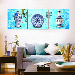 3 Pieces Free shipping Home decoration on Canvas Prints Blue and white porcelain tea Glass cup windmill tulips Red lips rose Abstract flower