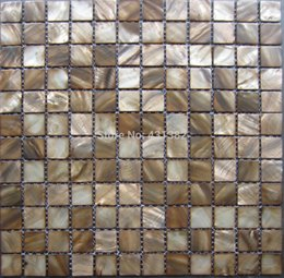 Wholesale Mosaic tiles Coffee dark brown kitchen tile backsplash mother of pearl tiles shell mosaics bathroom wall flooring pearl tile