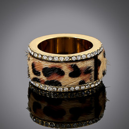 Wholesale DHL Size7 Textured High Quality Rhinestone Classic Horse Hair Fur Leopard Ring Women Gold Shining Animal Ring