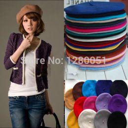Wholesale-2015 Classic women's soft warm Wool French Artist Beret Beanie slouch Hat Cap winter