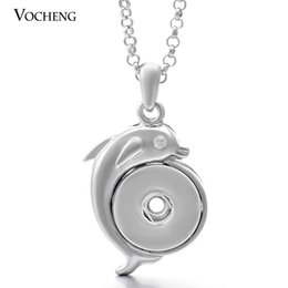 Wholesale VOCHENG NOOSA Gifts for Dolphin Lovers Pendant Necklace Jewelry Metal Snap Crystal Buttons Necklace NN