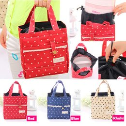 Wholesale Thermal Insulated Lunch Box Tote Cooler Lace Dot Bag Bento Picnic Pouch Lunch