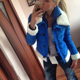 Wholesale-Hot New Arrival Women Winter Outcoat 2015 Fashion Casual Winter Women's Winter Jackets With a Big White Fur Collar Plus Size