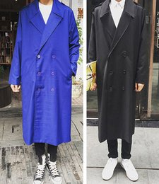Wholesale Fall New Men s Retro Vtg Double Breasted Long Trench Coat Jacket Outwear Black Blue