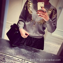 Wholesale New Arrival Spring Autumn Women Sweaters And Knitwear Wings Sequin Print Ladies Jumpers Fashion Thin Pullover