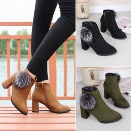 Fashion Women Shoes 2017 winter new black suede fringe boots with high heel wild round Martin boots shoes waterproof 35-39