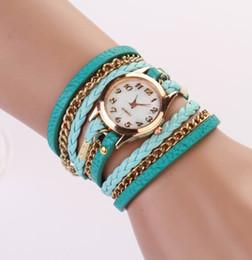 Wholesale 2014 New Women Girls Ladies Graceful Lovely Metal Punk Chain Bracelet Watch Artificial Leather Quartz Wristwatches