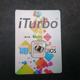 Wholesale iTurbo Thin card unlock sim card iTurbosim for iPhone S C With iOS iOS Work Gsm Wcdma Cdma Sprint Verizon ATT T mobile lusacell