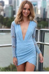 Blue pink Charming Lace Mini Dresses long sleeve V neck vestido de festa women sexy fastion clothing free shipping 21728
