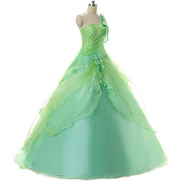 Fresh Mint Green Quinceanera Gowns Cheap One Shoulder Pleats Flowers Ruched Debutante Sweet 16 Girls Masquerade Party Prom Ball Gown