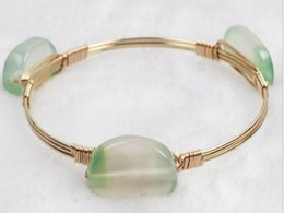 Wholesale LuReen Natural light green Jade bracelet Alloy Bangle Iron wire twisted Good workmanship Hot sale Fashion Jewelry for women
