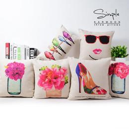 Perfume pillowcase, flower pillow case, watercolor bird Cosmetics High-heeled shoes throw pillow case pillow cover